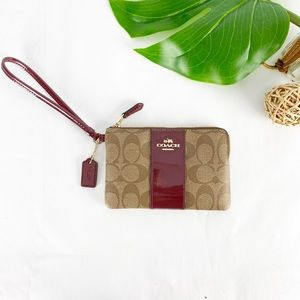 Coach Signature Wristlet Leather Khaki Burgundy
